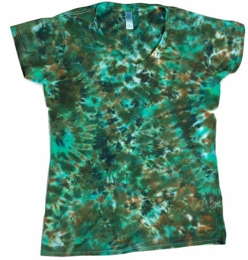 New Tie Dye Earth Ladies Fitted V Neck T Shirt Small Xxl