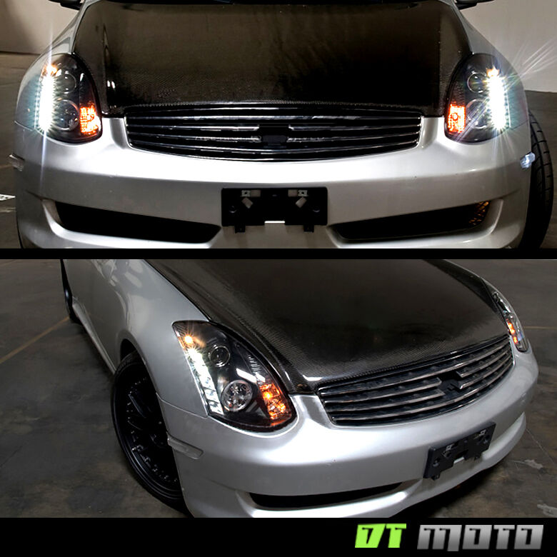 New Infiniti G35 Coupe >> Black 2003-2007 G35 Coupe Halo Projector Headlights w/Daytime DRL Led Lamp 03-07 | eBay