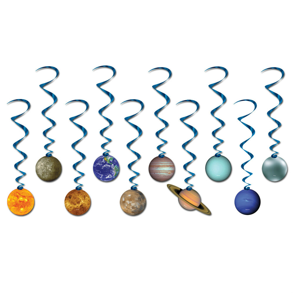 Space solar system planets party hanging decoration dangling whirls swirls ebay - Solar system decorations ...