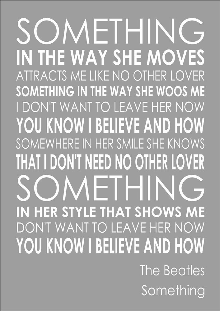 Something - The Beatles - Word Wall Art Typography Words ...