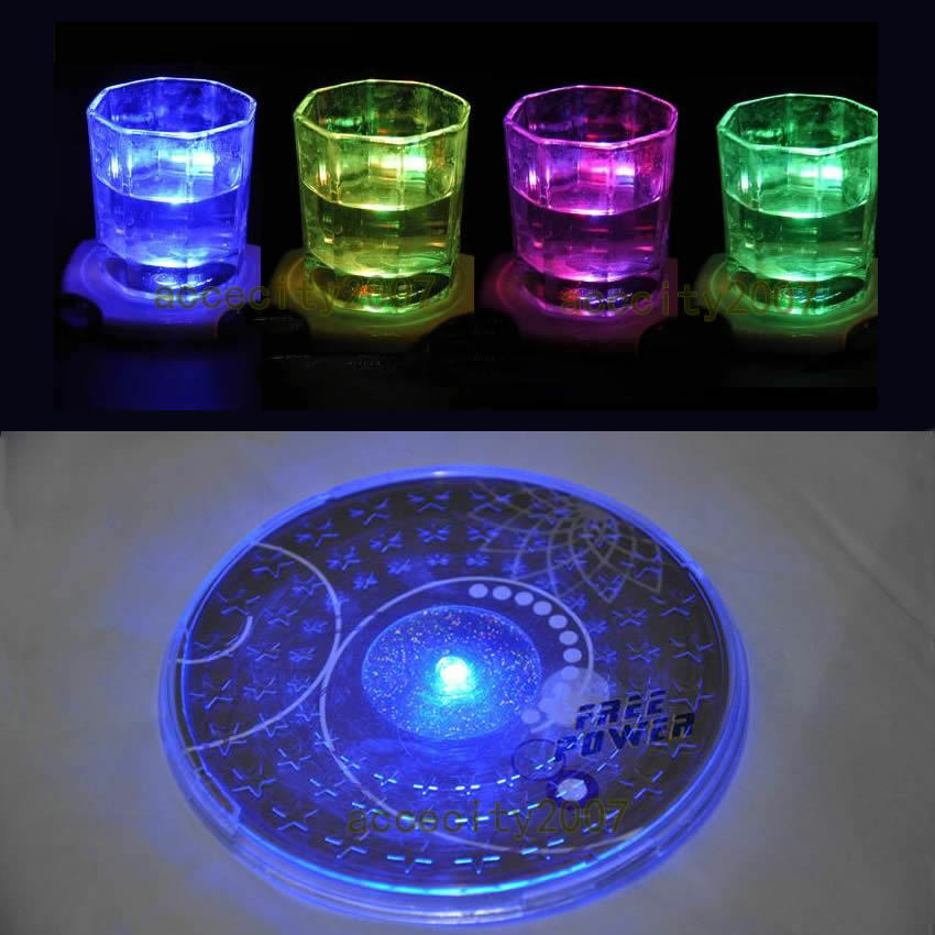 1x led coaster color change light up drink cup mat tableware glow bar club party ebay - Lighted coaster ...