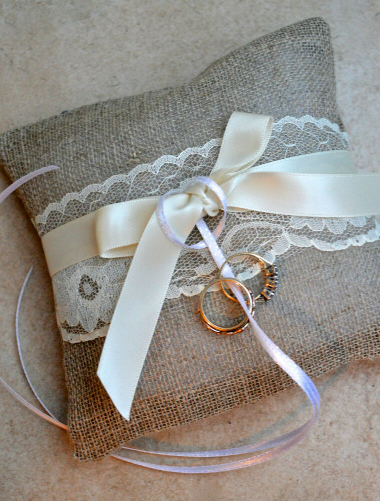Simple Hessian Lace Satin Wedding Ring Cushion Pillow