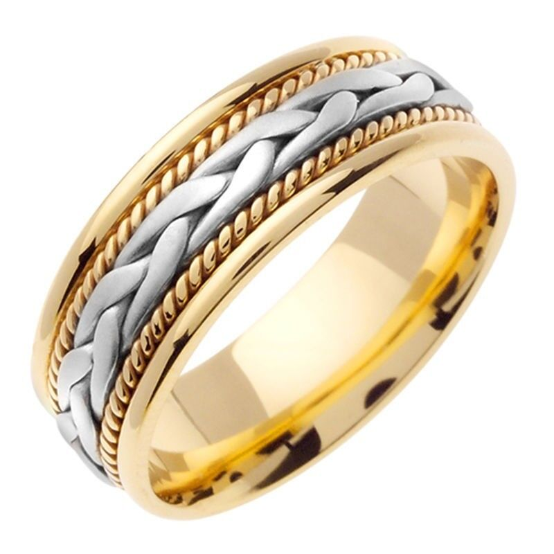 Mens Womens Solid 14K Gold Two Tone Hand-braided Comfort
