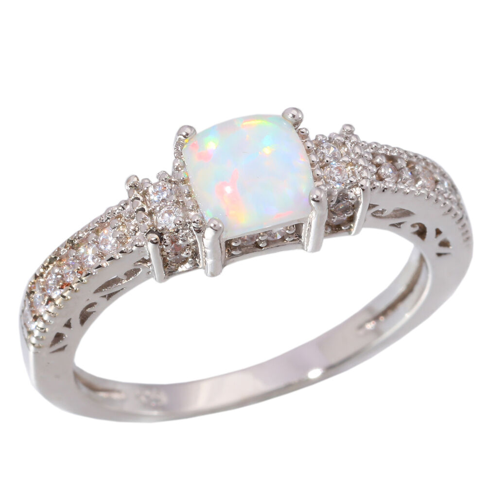 white fire opal cz women jewelry gemstone silver ring 5. Black Bedroom Furniture Sets. Home Design Ideas