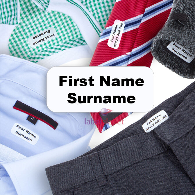 Trons iron on name labels transfers personalised for for Iron on shirt labels