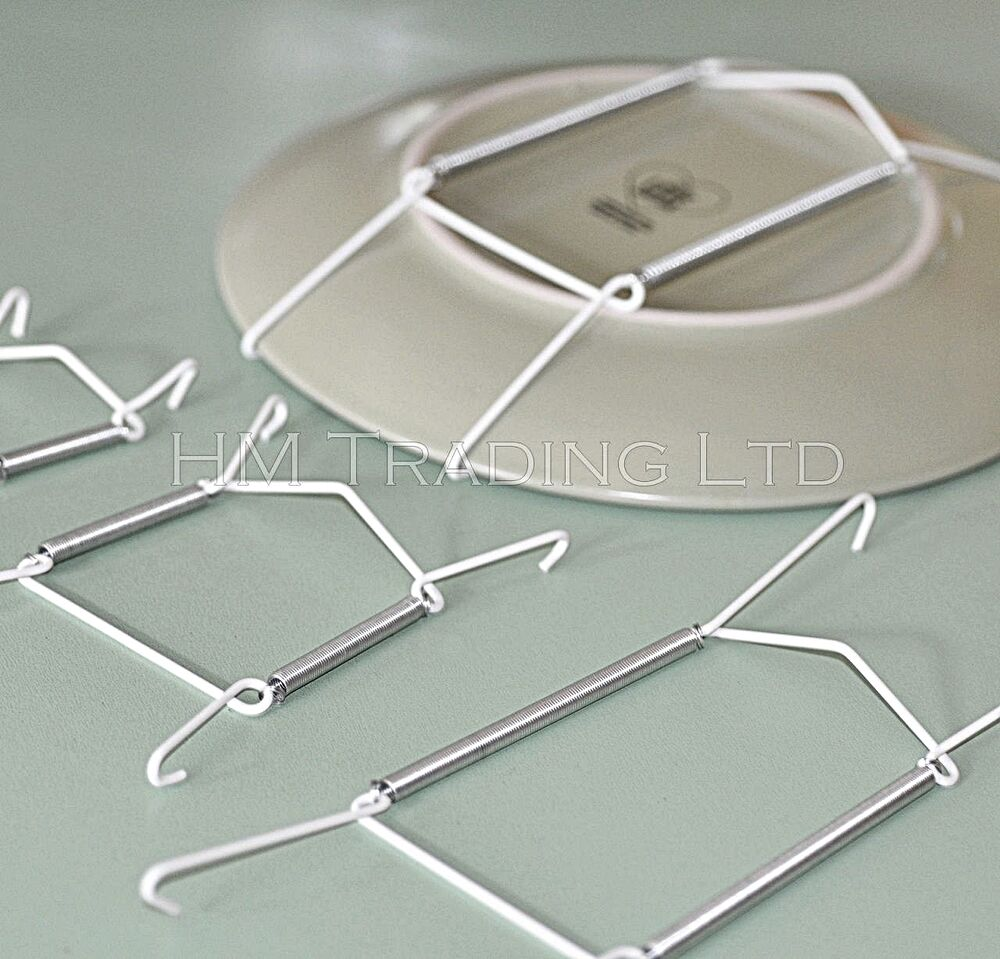 Plate wire hanging white hanger flexible with spring wall for Decoration hangers