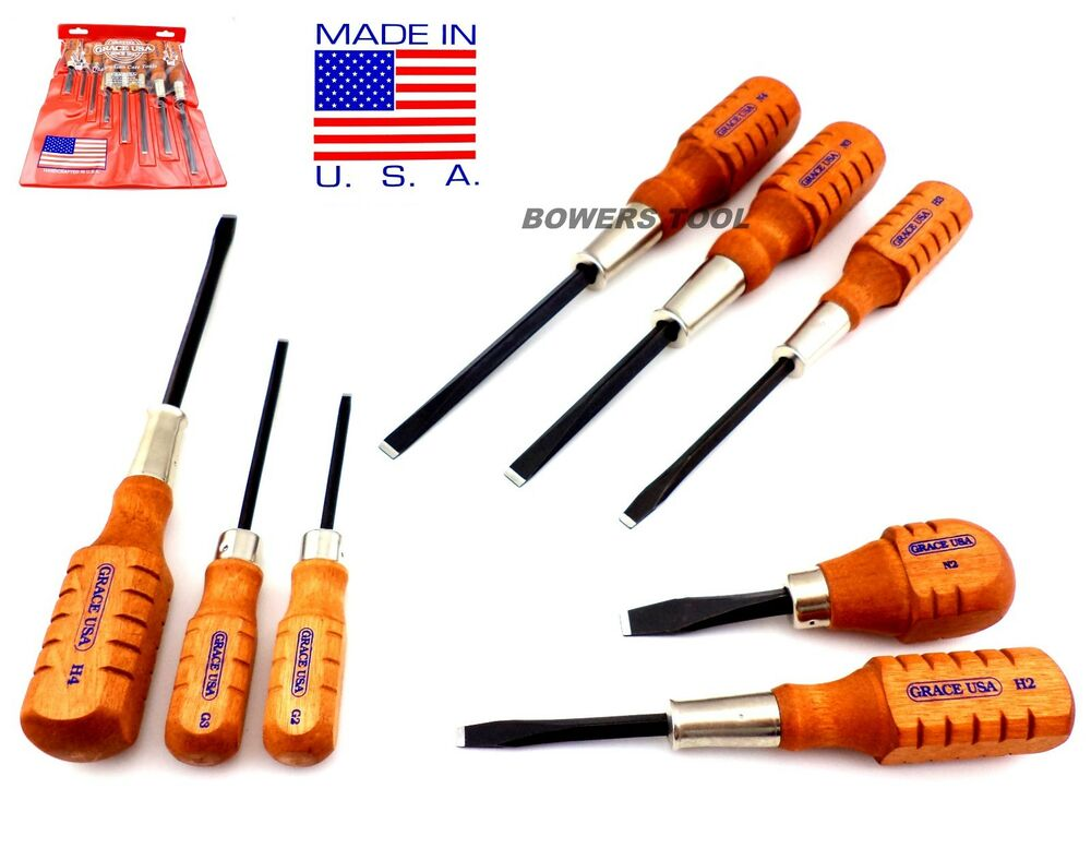 grace usa 8pc wooden flat slotted screwdriver set hg 8 made in usa wood gun care ebay. Black Bedroom Furniture Sets. Home Design Ideas