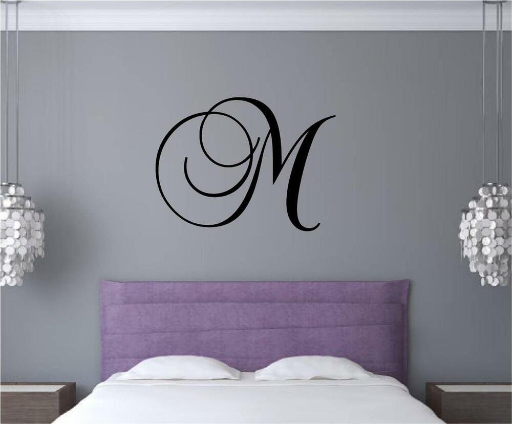 Custom monogram letter vinyl decal wall art stickers words for Custom wall letter stickers