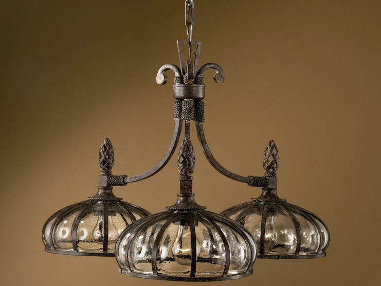 Mediterranean 3 light chandelier glass bronze globe tuscan for Mediterranean lighting fixtures