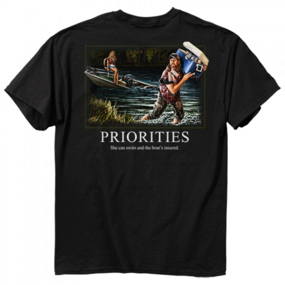 Funny fishing buckwear tee t 39 shirt prioririties beer for Funny fishing t shirts