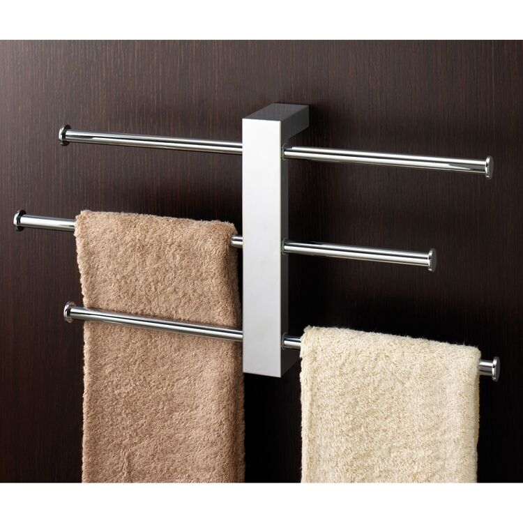 Polished Chrome Wall Mounted Towel Rack With 3 Sliding