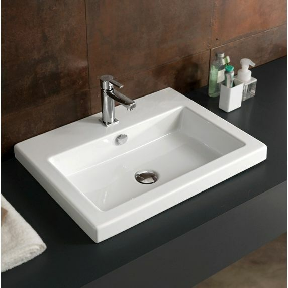 23 Inch Drop In Or Wall Mount White Ceramic Bathroom Sink