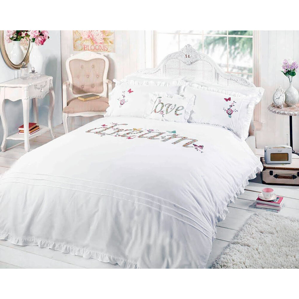 dream shabby chic duvet cover embroidered applique white bedding bed set ebay. Black Bedroom Furniture Sets. Home Design Ideas