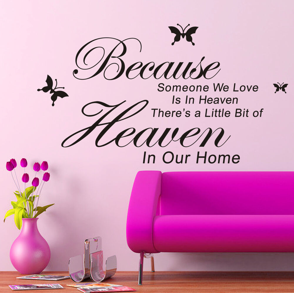 Wall Art Stickers Heaven : New diy removable art pvc vinyl quote wall stickers decal