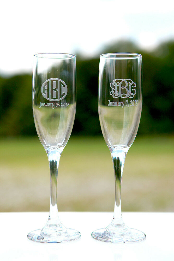 Engraved Wine Glasses For Wedding Gift : ... Wedding Party Gift Etched Engraved Toasting Champagne Flute Glass