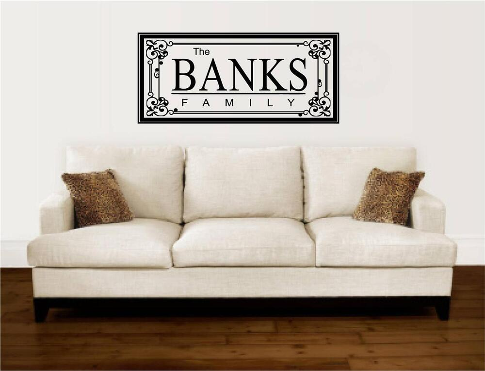 Custom family name frame vinyl decal wall stickers letters for Home decor names