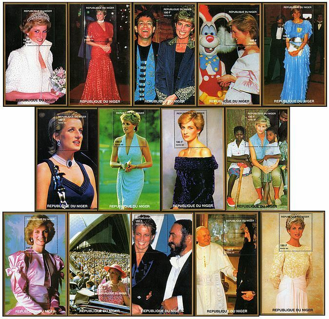 Diana princess of wales stamp minisheet collection 14 different mint