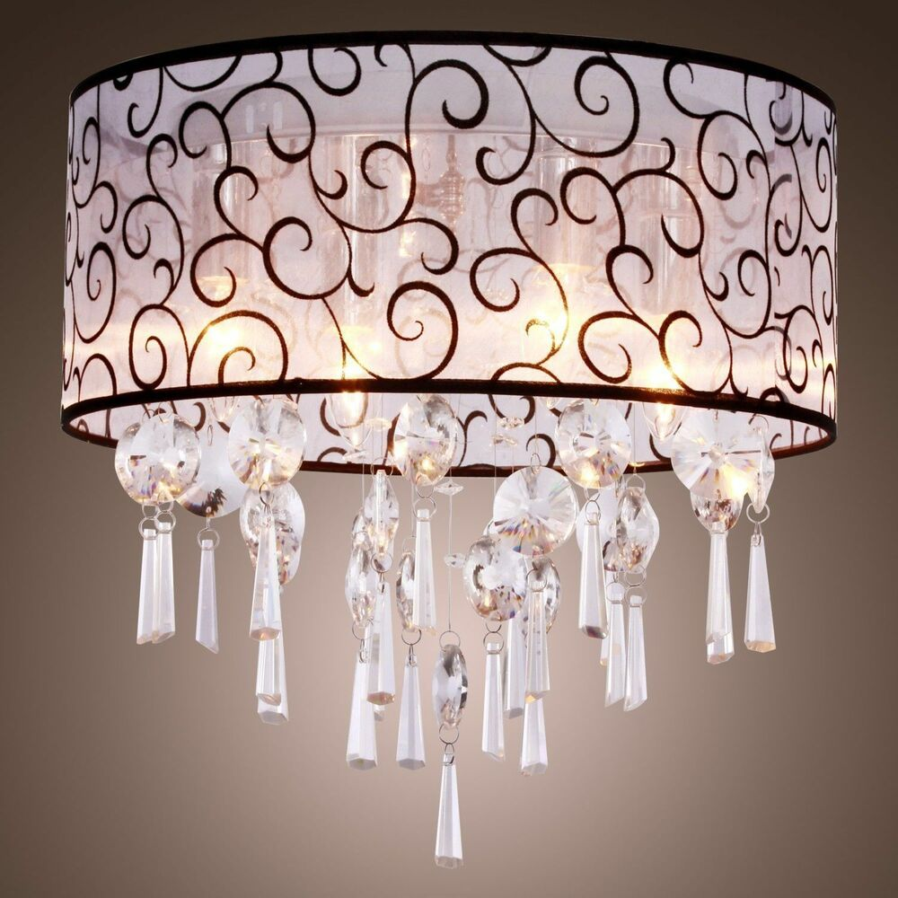 Romantic crystal flush mount chandelier lamp ceiling pendant lighting fixture ebay - Ceiling lights and chandeliers ...