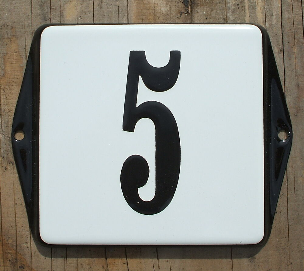 classic enamel house number sign black no 5 on a white