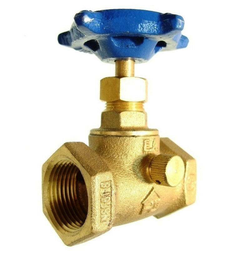 Quot npt brass shutoff valve theaded w drain and