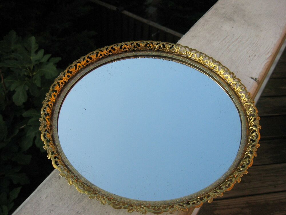 Vintage Mirror Tray Vanity Perfume Makeup Filigree Gold