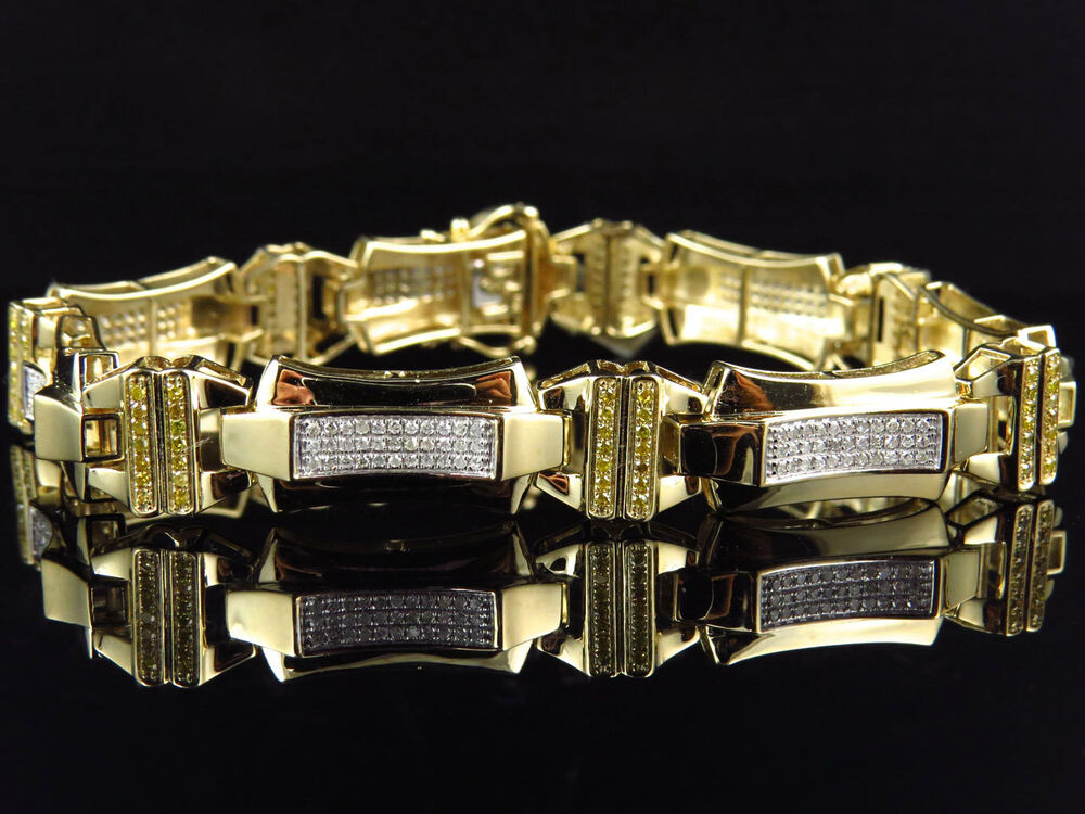 mens pave set 10k yellow gold genuine canary white. Black Bedroom Furniture Sets. Home Design Ideas
