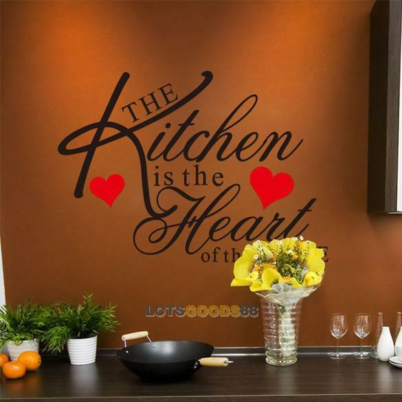 Kitchen heart removable wall stickers vinyl bathroom art - Kitchen wall stickers decor ...
