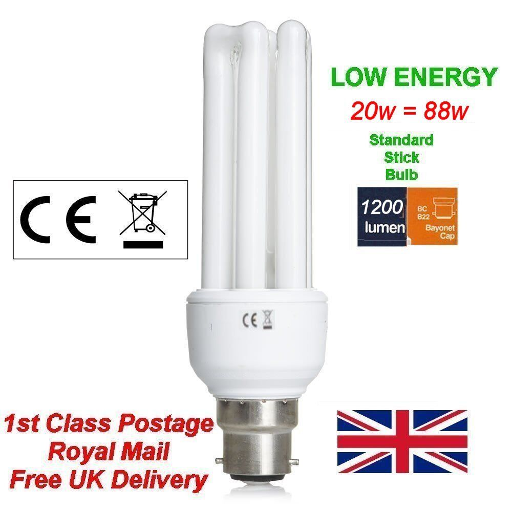 11w Low Energy Power Saving Cfl Stick Light Bulbs Lamp Bayonet Cap B22 Bc Ebay