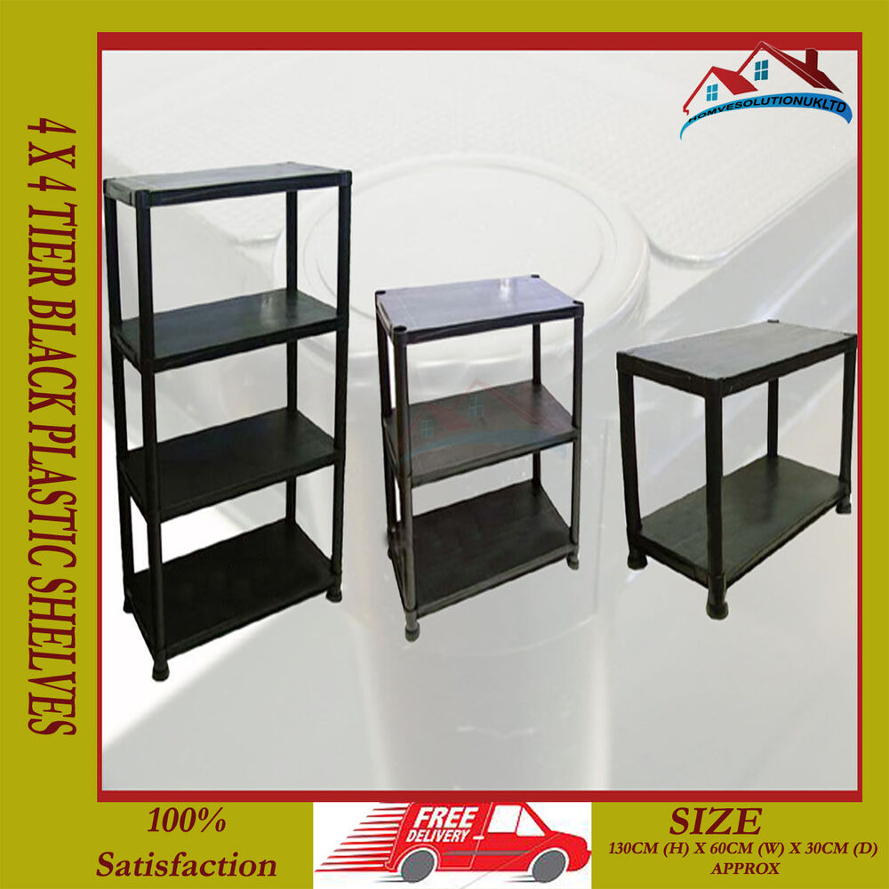 4 tier black plastic racking shelving shelves rack storage. Black Bedroom Furniture Sets. Home Design Ideas