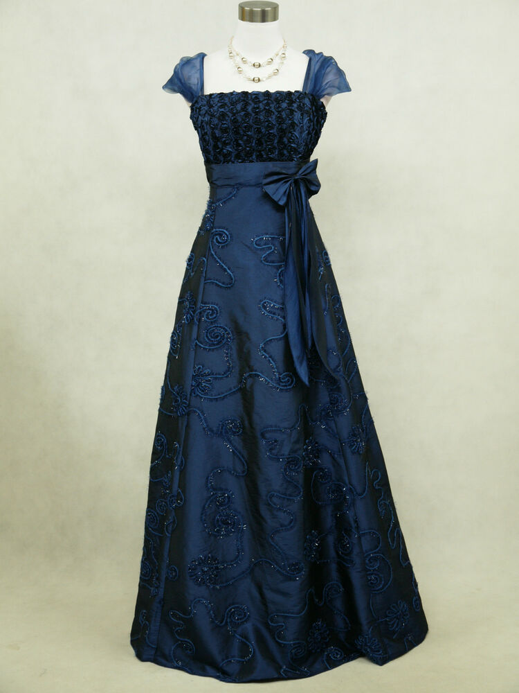 Cherlone plus size satin dark blue rose ball gown wedding for Ebay wedding dresses size 18 uk