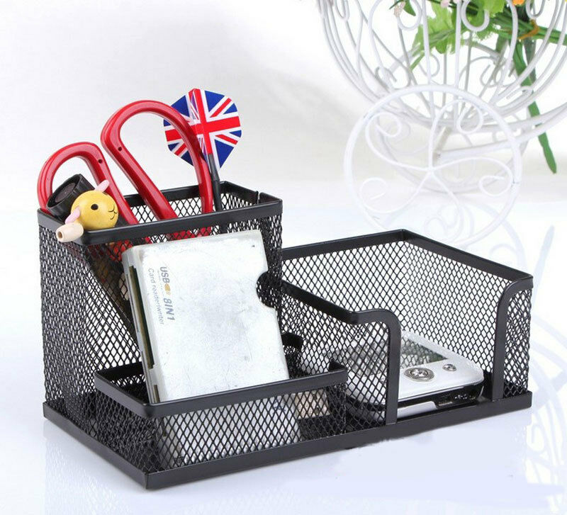 Black metal mesh desk organizer desktop pen holder for - Black mesh desk organizer ...