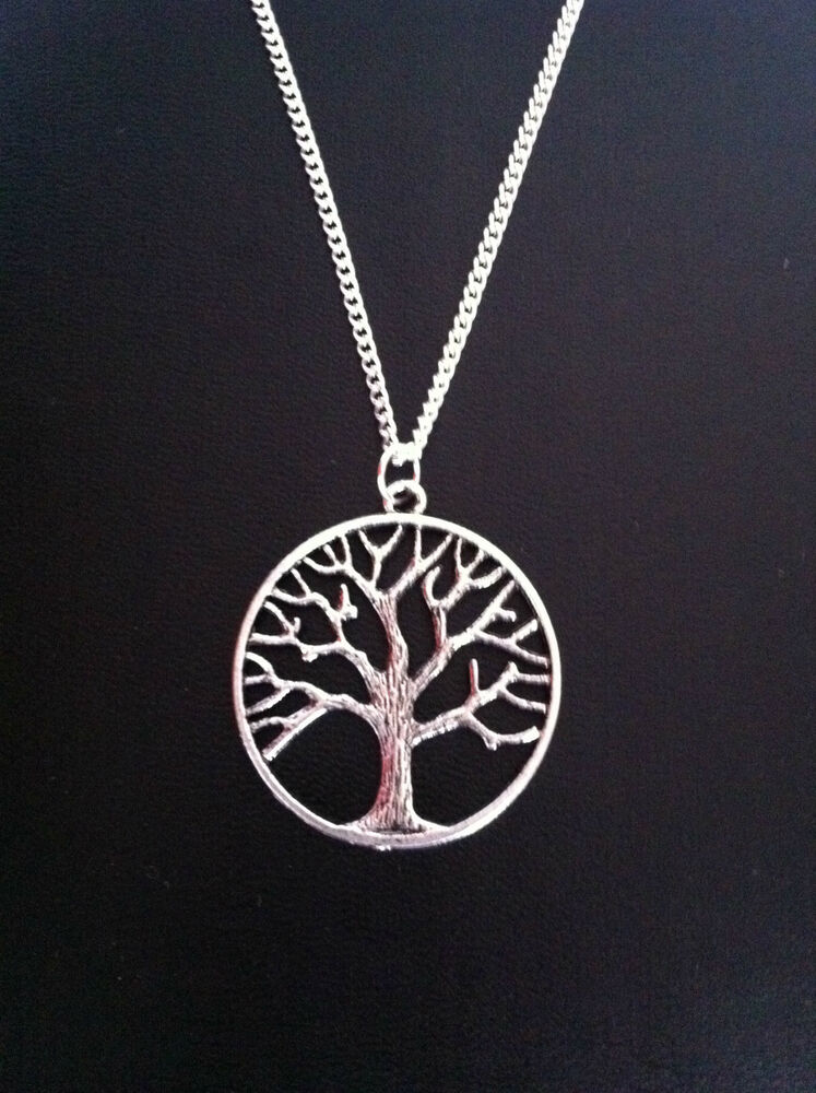 Tree of life sacred oak charm necklace 18 silver chain for What is the meaning of the tree of life jewelry