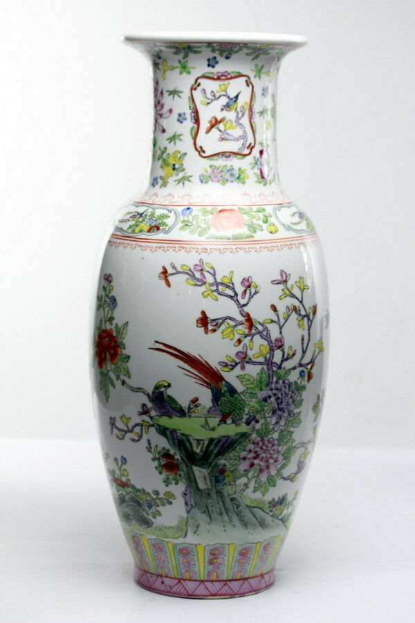 Chinese Porcelain Vase Floral Decorated With Exotic Birds Ebay