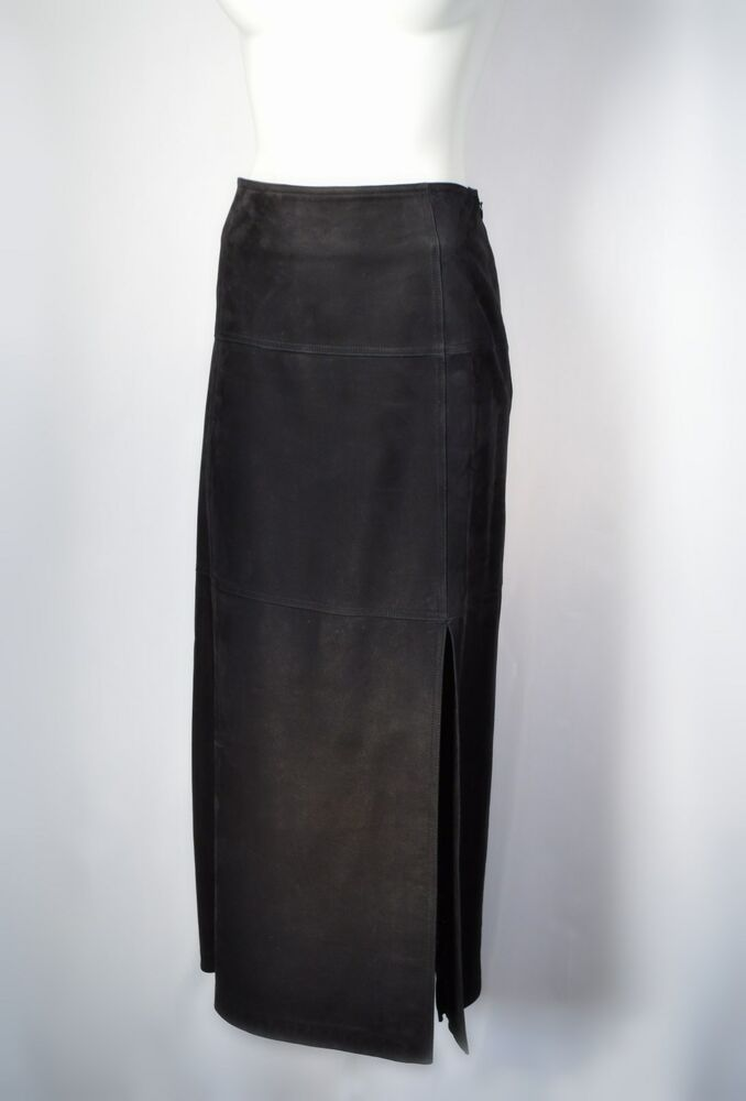 Southwest Cowgirl Sz 12 Black Suede Leather Straight Skirt ...