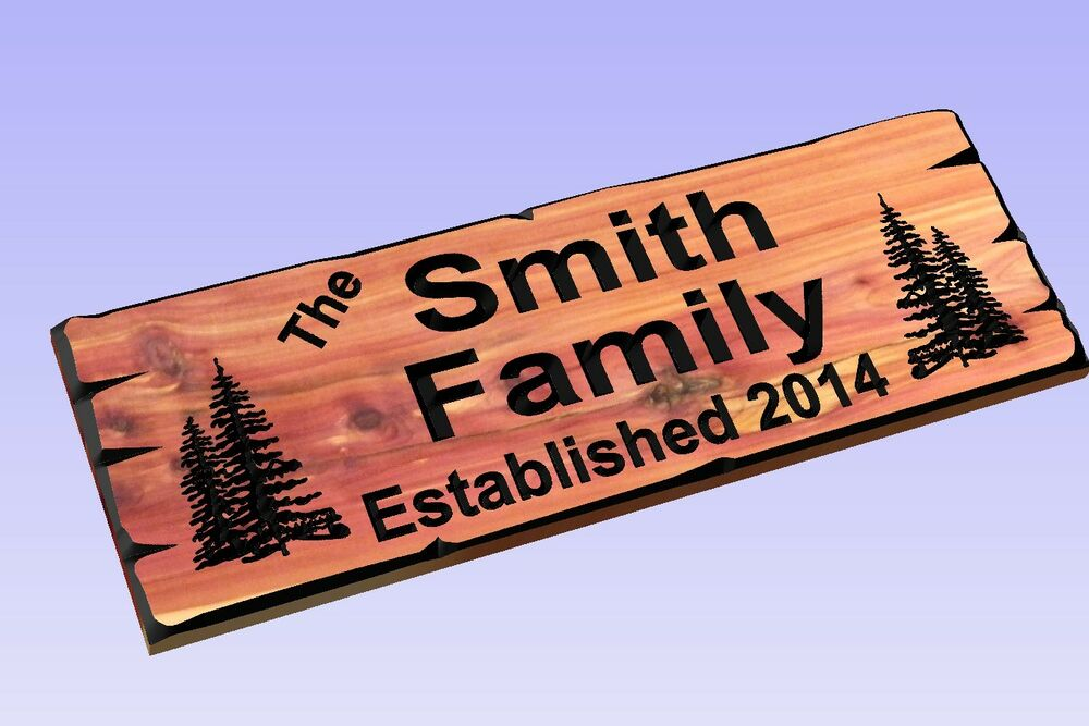 Custom Carved Cedar Wood Sign Last Name Rustic Plaque Home Decor