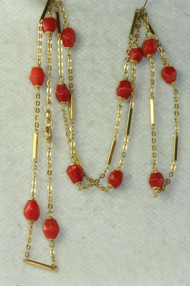 Italy Vintage 14k Gold 24 Inch Coral Beads Chain Necklace