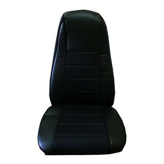 Seat Cover w Pocket Black Faux Leather Peterbilt