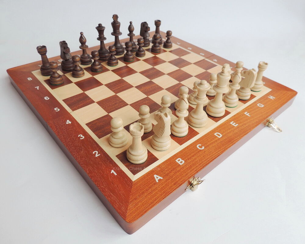 Brand New Madon Tournament Nr 4 Wooden Chess Set 40cm With
