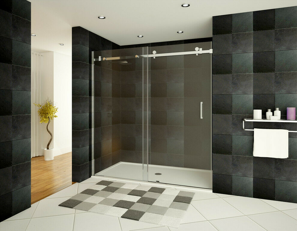 Shower door ultra b 56 60 wide x 76 high chrome finish ebay