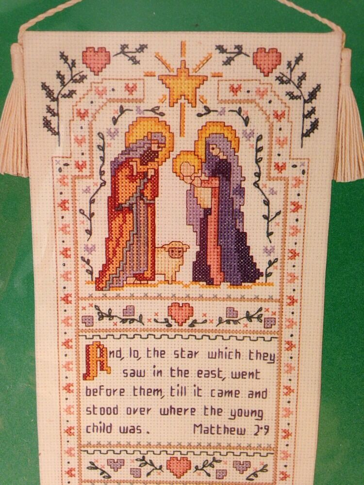 Dimensions nativity bell pull counted cross kit christian