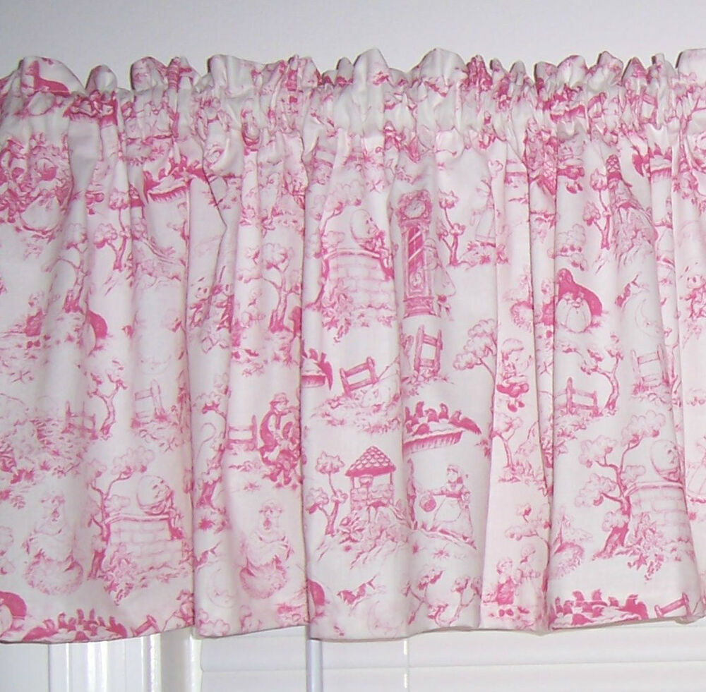 sweet baby girl pink nursery rhymes themed toile english curtain
