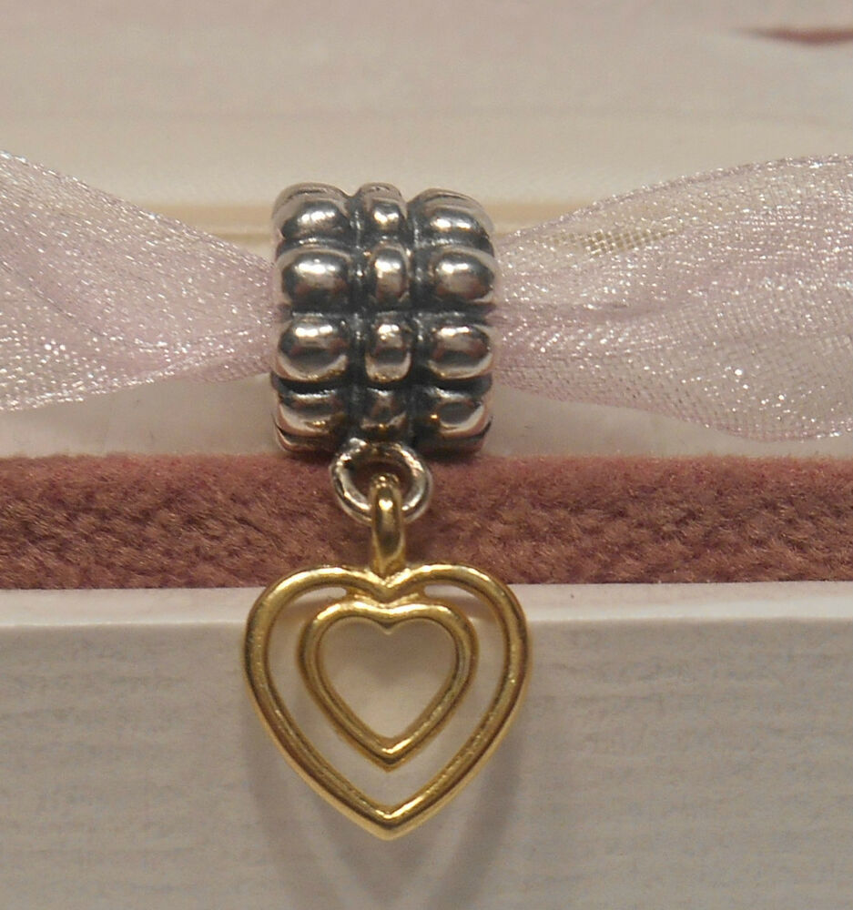 Gold Pandora Jewelry: AUTHENTIC PANDORA~HEART OF HEARTS~Silver/14K Gold/Charm