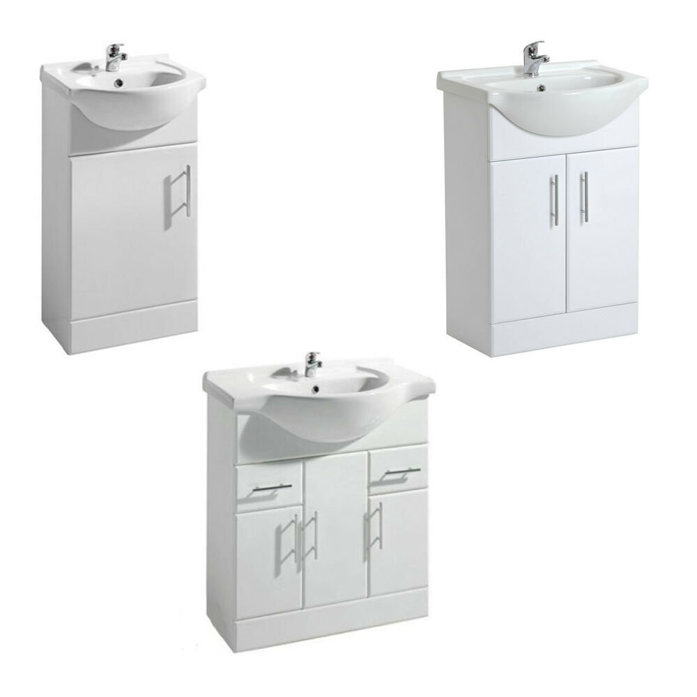 100 Mdf White Gloss Bathroom Basin Sink Cabinet Vanity
