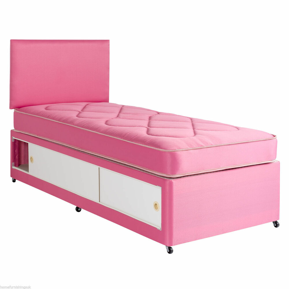 2ft6 3ft single pink cotton kids slide storage divan bed for Single divan and mattress