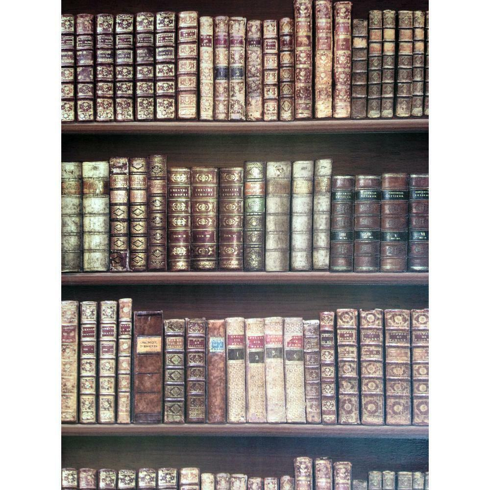 New direct bookcase classic leather books library mural for Bookshelf wall mural