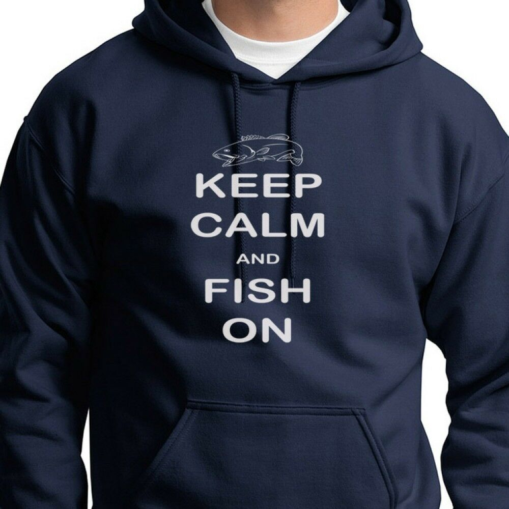 Keep calm and fish on funny fishing hunting fly salmon for Bass fishing hoodies