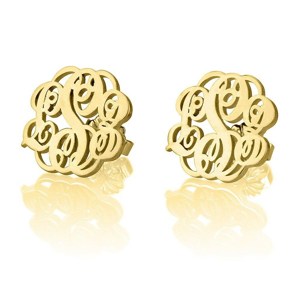 Stud Earrings Monogram Fashion Gold Plated Women Name