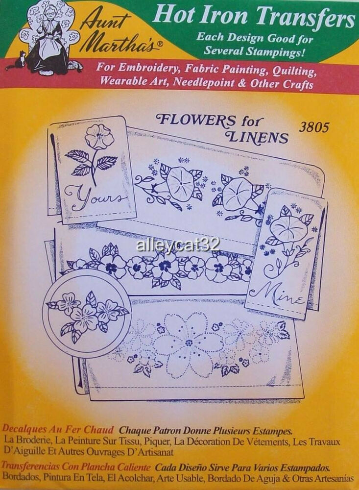 Aunt martha s hot iron on transfers flowers for