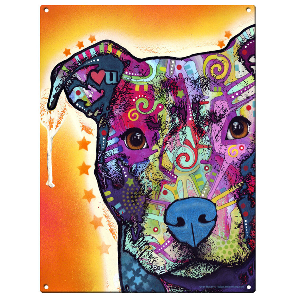 Heart u pit bull dog dean russo pop art sign pet steel for Pop wall art