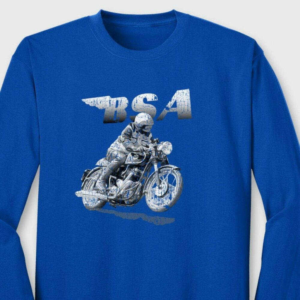 Triumph T Shirt >> BSA Motorcycle Vintage Racing T-shirt Classic Triumph Cafe Racer Long Sleeve Tee | eBay